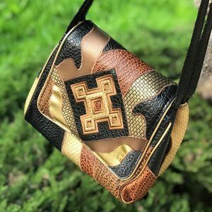80's Vintage Faux Snake Skin & Leather Crossbody